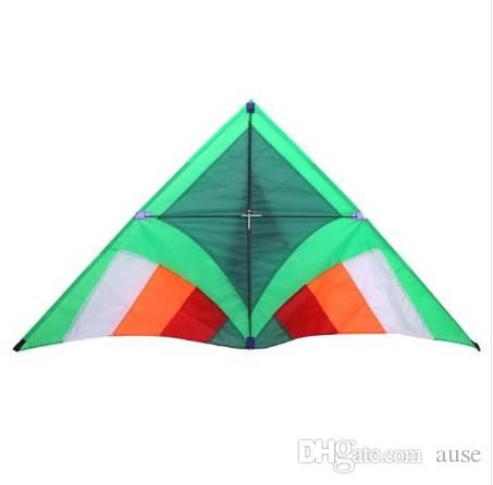 Portable 1.4m Kite Triangle Green Lawn Nylon Stunt Kite Surf Sports Beach Easy to Fly Children Kids Adult Outdoor Toys