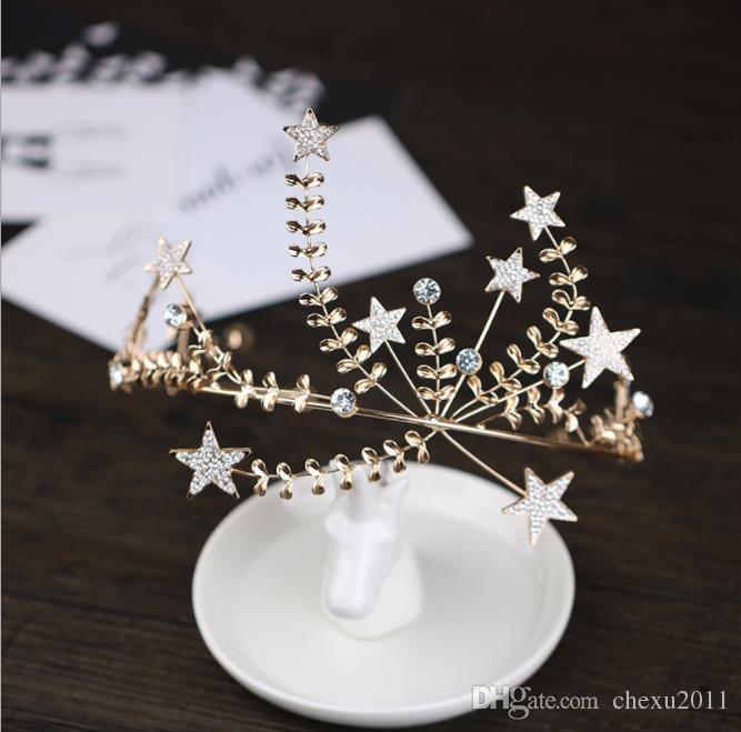 Enfeites de cabelo de diamante europeus e americanos, hair hoop princesa aniversário hairpin estrela bonita estilo headwear