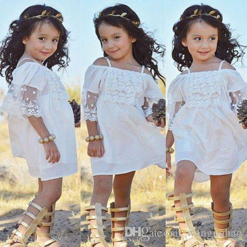 Baby girls lace Strapless dress Children suspender princess dresses 2018 new summer Pageant Holiday kids Boutique clothing