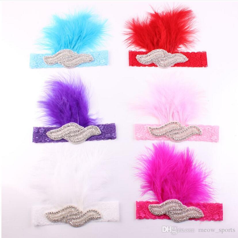 Testa ornamenti banda corda pizzo bambino Feathered fasce di seta peli maglia fascia elastica dei capelli delle ragazze bambini Fasce bambino dei capelli accessori