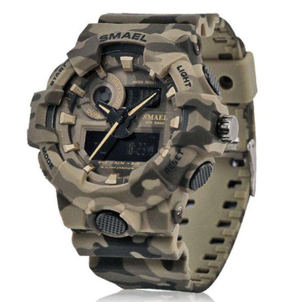 Nuevo Reloj de camuflaje SMAEL Reloj Hombre Deportes Reloj de cuarzo LED Reloj de pulsera deportivo para hombre 8001 Ejército para hombre Impermeable