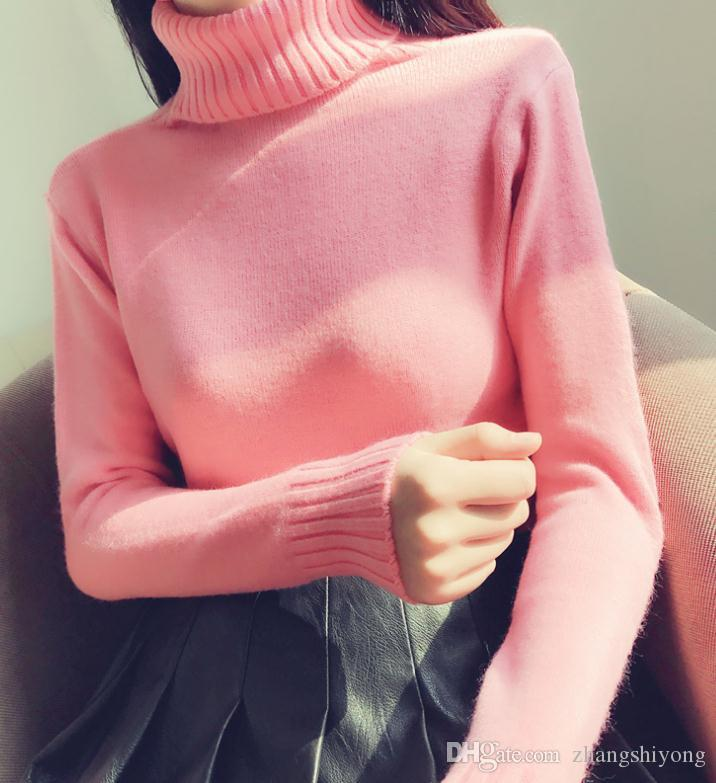 Envío gratis Collar de punto alto abrigo de manga larga Conjunto cabeza femenino cultiva su carácter carácter suéter en otoño e invierno