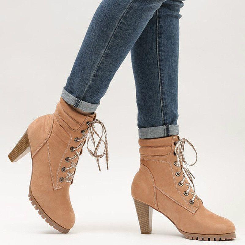 nueva llegada d64e1 55937 Botas cortas de cuero para dama Moda con cordones y correas Zapatos de  tacón alto Botas de invierno para mujer