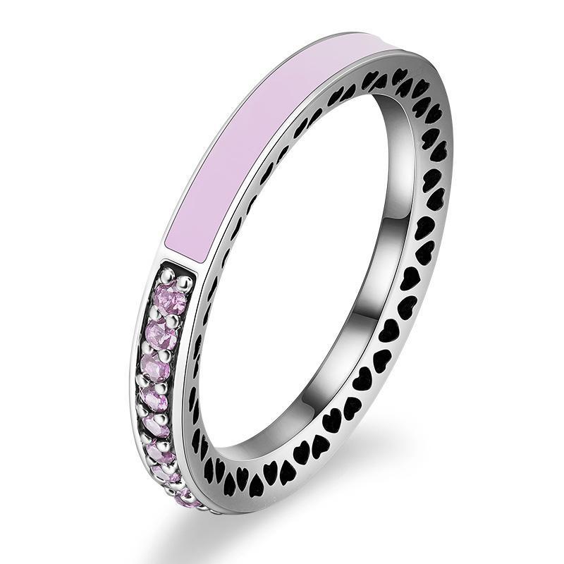 Charme da moda 100% 925 Anéis de Dedo de Prata para Mulheres Homens Dia das Mães Corações Anel Rosa Jóias