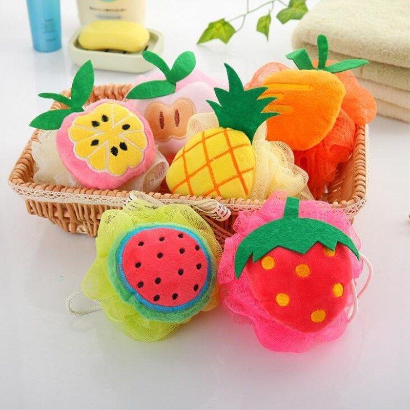 1pc cute fruit bath Balls Rich bubbles Body Bath Sponge Shower Brush Body Wash Scrubber Mesh Soft Puff bathroom accessories