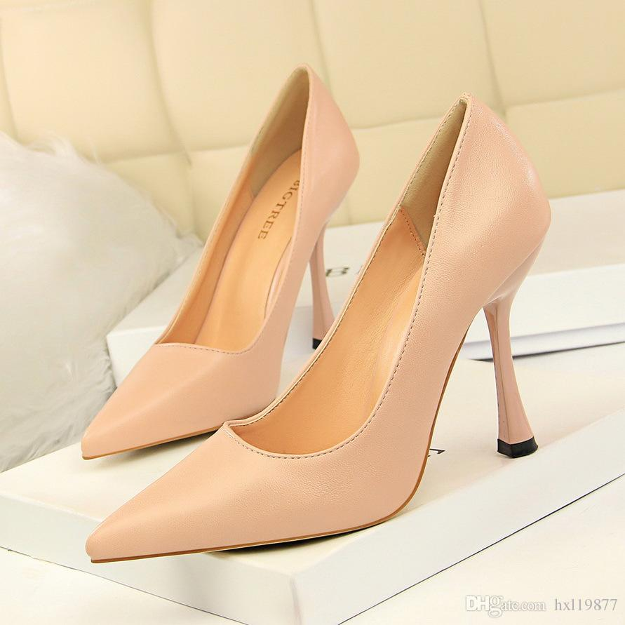 BIGTREE Escarpins Chaussures Femme Mince Sexy Chaussures à Talons Hauts Pointu En Daim Creux De Bowknot Gland Bureau Élégant Chaussures Femmes 3212-3
