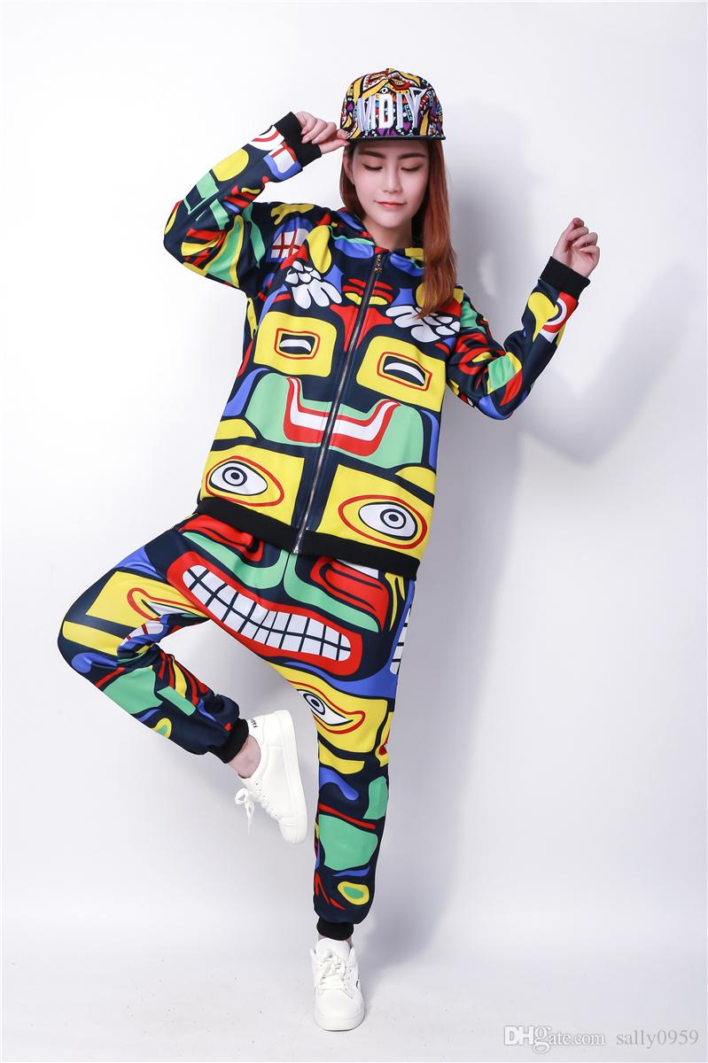 Kids Set Costume Hip Hop Harem Dance Pants Hoodie Jamaica Totem Suits Twinset