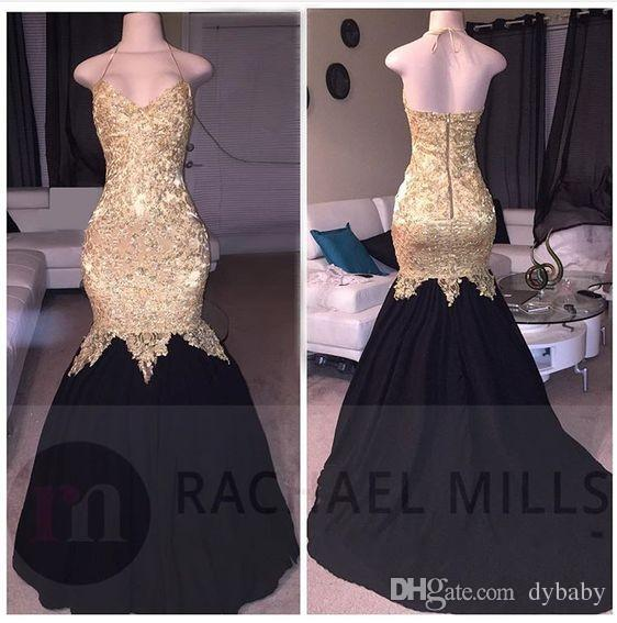 2018 sexy cheap plus size black girl prom dresses mermaid evening gowns lace gold prom dress