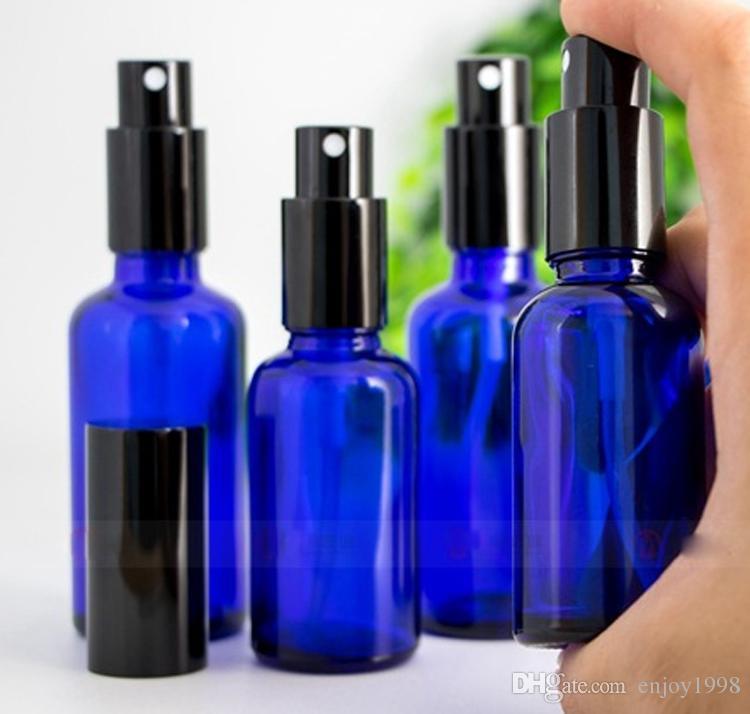 Livraison gratuite 30ml 50ml 100ml bleu cobalt Vaporiser parfum bouteille vide verre Atomiseur bouteilles travail parfait pour Mist Pompe d'or Cap