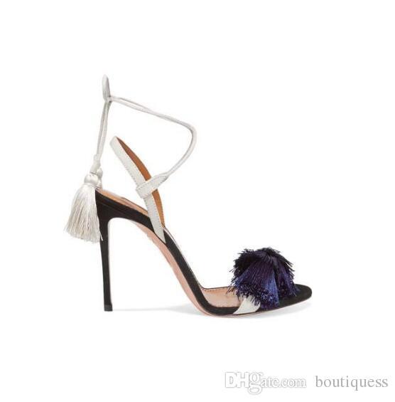 Top vente rétro frange peep toe stiletto dentelle jusqu'à la croix attachée mince talons hauts gland concis femmes robe partie été strappy sandales