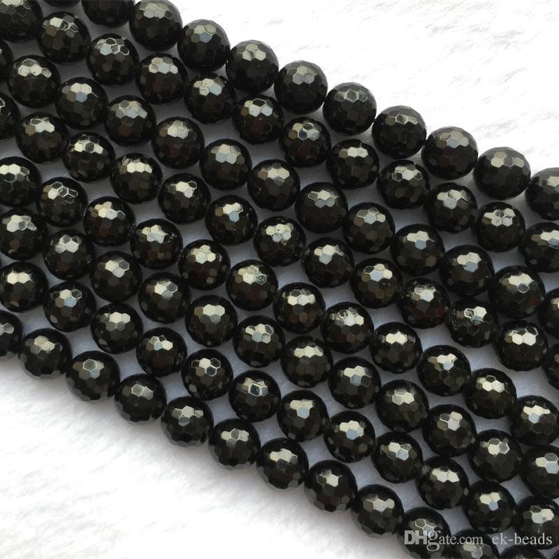 """Doğal Hakiki Siyah Tektite Yuvarlak Gevşek 128 Faceted Boncuk 10mm 12mm 15.5 """"05504"""