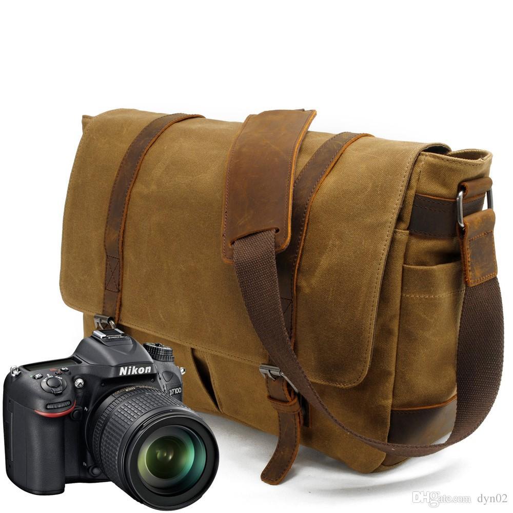 Сумка для камеры через плечо повседневная одно плечо батик холст с сумашедшей лошадью кожаная сумка зеркальная водонепроницаемая сумка для камеры