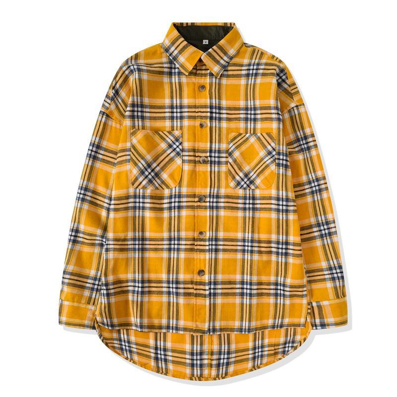 새로운 힙합 가장 인기있는 안개 남성 남여 플란넬 긴 소매 격자 무늬 대형 드레스 셔츠 노란색