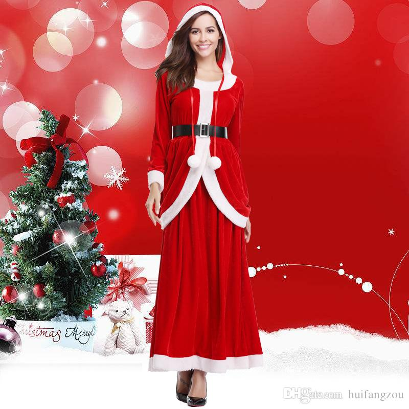 2018 Winter Dresses Christmas Party Cosplay Red Jewel Neck Long Sleeves Ankle Length Costume With Belt In Stock