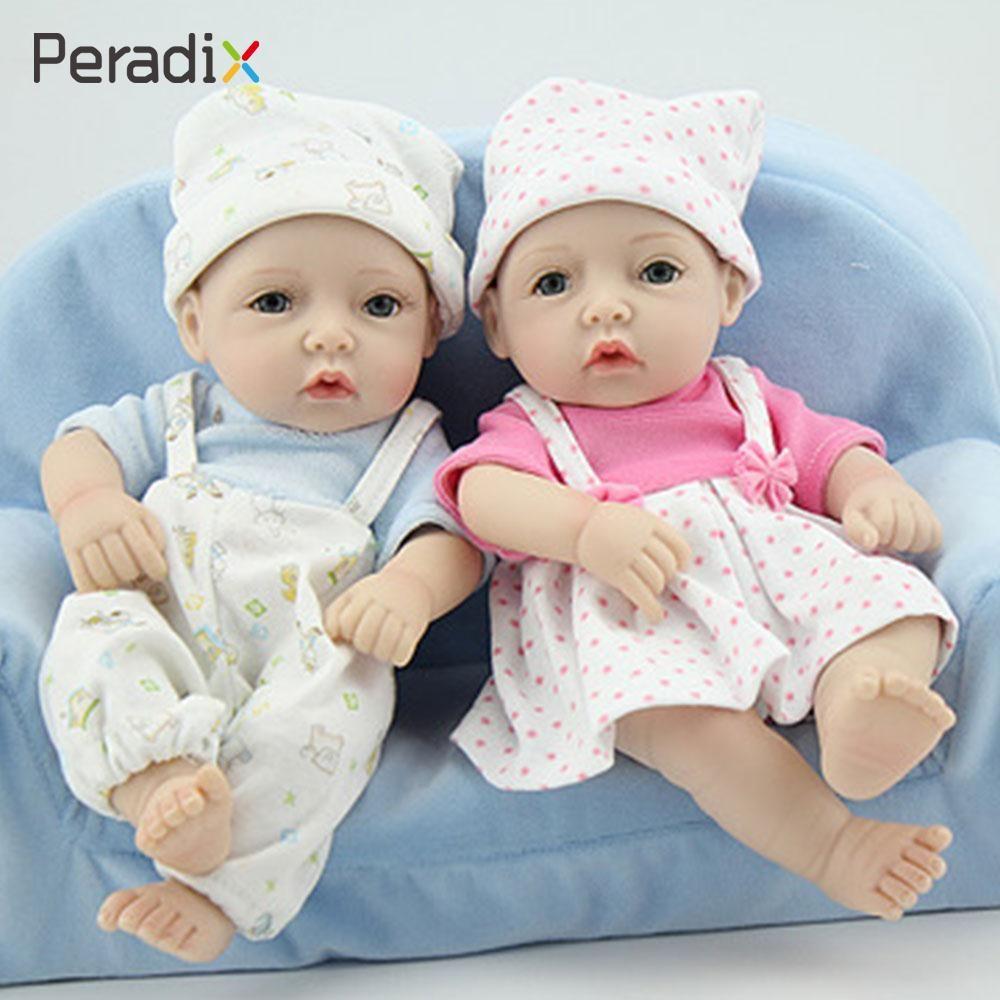 Twins silicone early education newborn baby twins babies doll simulation doll soft gifts lifelike kids fashion
