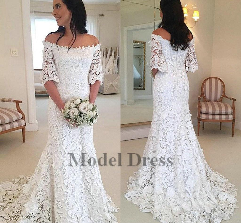 Capped Half Sleeve Lace Wedding Gowns Mermaid Sweep Train Simple Country Style Modest Elegant Bride Dresses White New Design Discount Designer Wedding