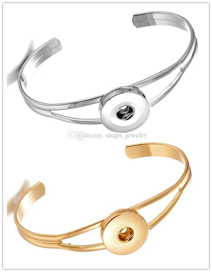 Noosa botón de botón de jengibre joyería oro plata metal 18mm broche botón pulsera para hombres de las mujeres