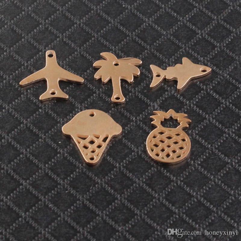 Volle Spiegelpolitur Rose Gold Farbe Edelstahl Fisch Flugzeug Ananas Eis Baum Charme DIY Schmuck 20 Stück / los