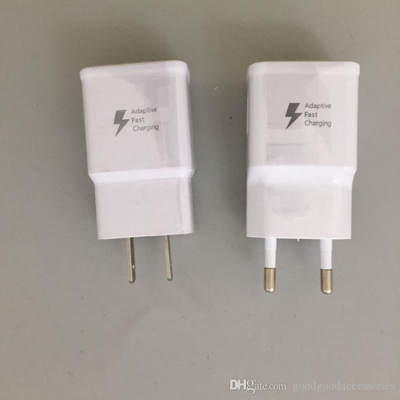 100pcs / lot 9V-1.67A ou 5 V-2A Adaptive adaptateur chargeur rapide Chargeur EU / US Plug mur pour Samsung Galaxy S8 S9 S7 S6 bord Note 5 4