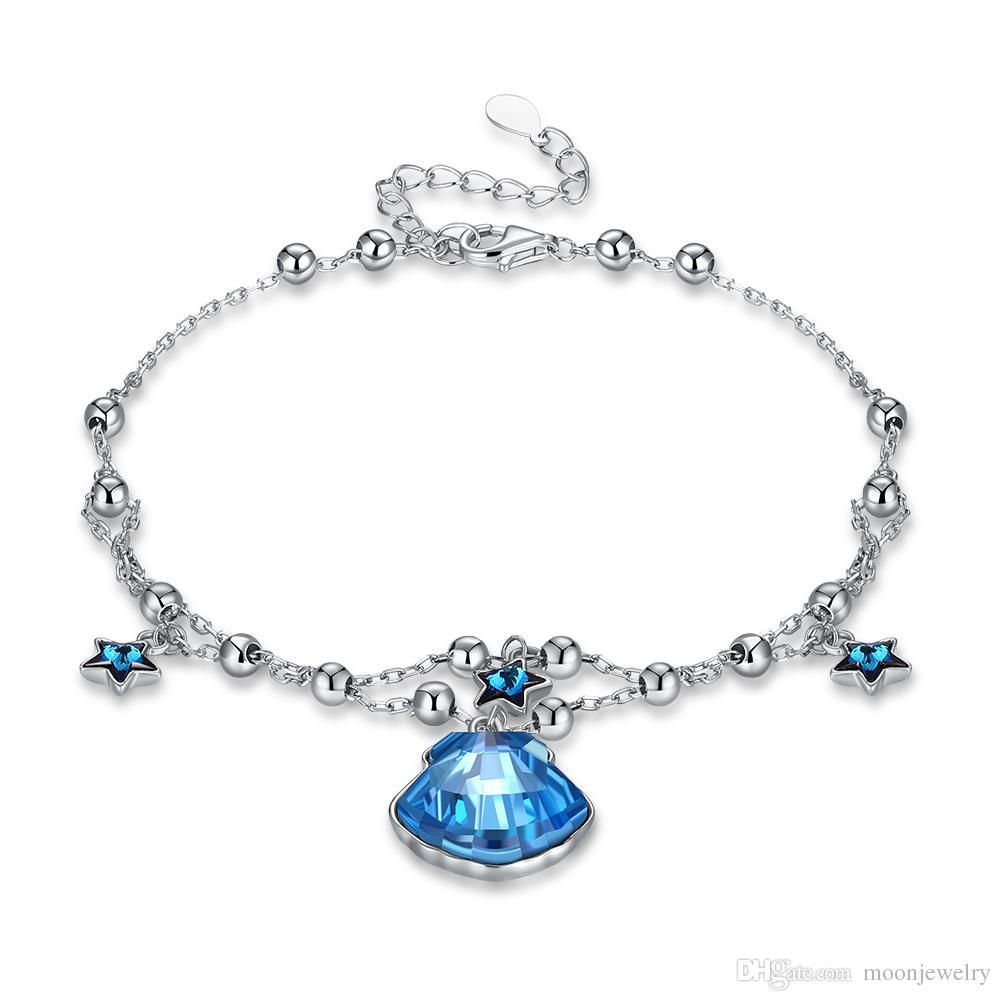 hot sale Seashells star fashion sterling silver bracelet from the swarovski silver bracelet for girlfreind gift