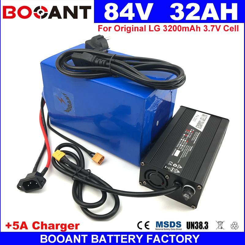 BOOANT 84V 32Ah für Bafang 3500W Motor E-Bike-Lithium-Batterie-Pack 23S 10P 18650 Handy Elektro-Fahrrad-Batterie 84V + 5A Ladegerät
