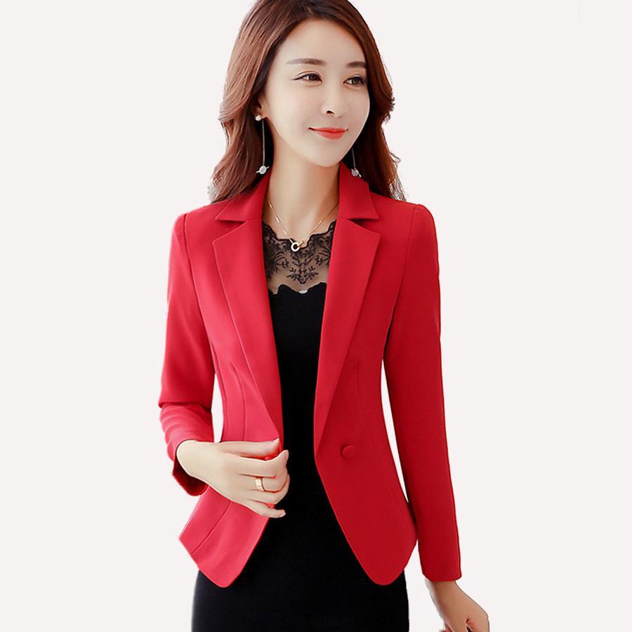 58f62b756 Autumn Spring Women Jacket Blazer Solid Fomal Womens Business Suit Red  Blazer Work Wear Terninho Feminino