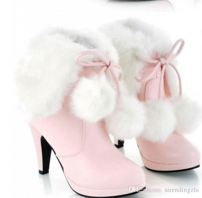 Envío gratis Hot Medium botas invierno tacones gruesos talón grueso botas de mujer coreana
