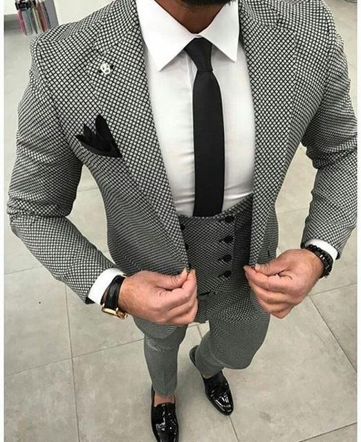 Black and white plaid suit 3 piece jacket vest vest custom Slim latest dance party groom wedding dress fashion trend