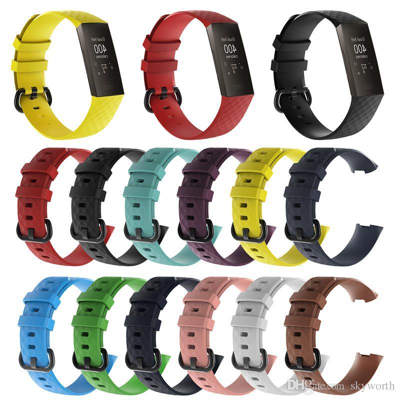Para Fitbit Charge3 Pulseiras De Silicone banda Pulseira de silicone Oficial esporte bandas pulseira de Acessórios Inteligentes Pulseira Respirável Carga 3