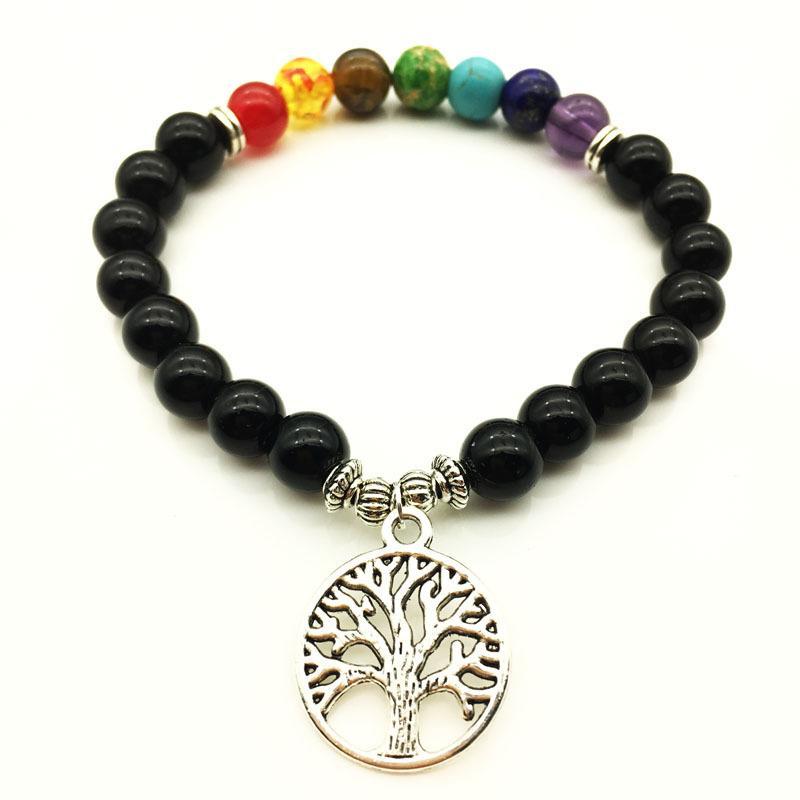DIEZI Fashin Women 7 Chakra Bracelets & Bangles Mixed Healing Crystals Stone Chakra Pray Mala Tree Charm Bracelet Men Jewelry