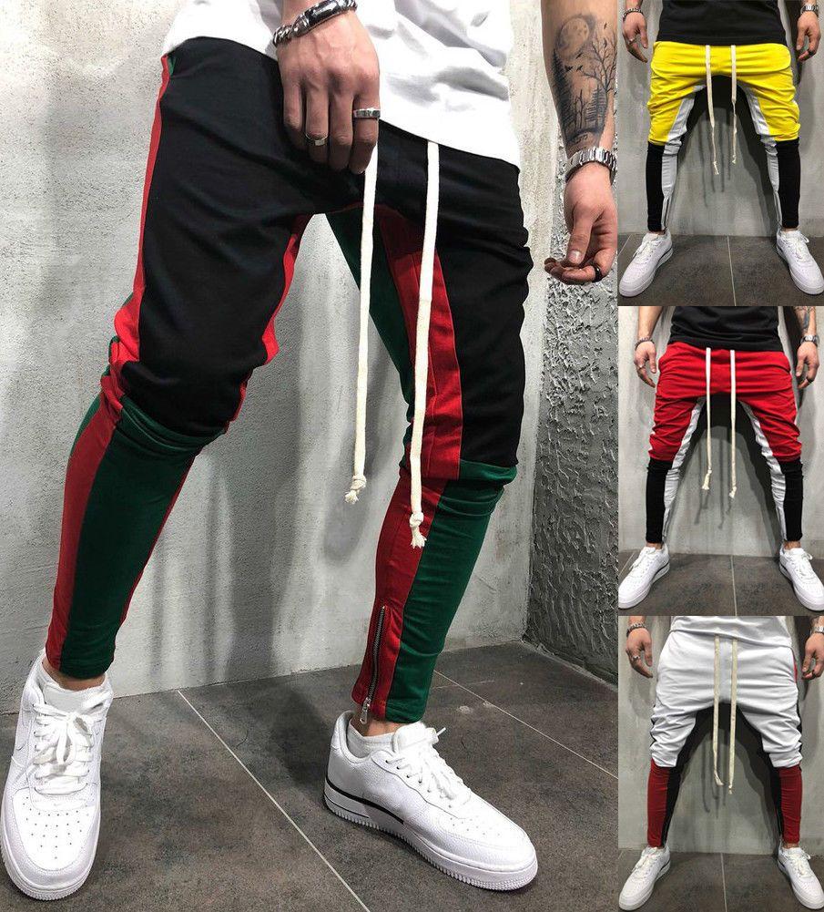 Calças de basculador Zíperes Em Calças Pernas Mens 2018 Novo Ginásio de Esportes treino Streetwear Hip Hop Calças de Trilha Longas Calças Sweatpants
