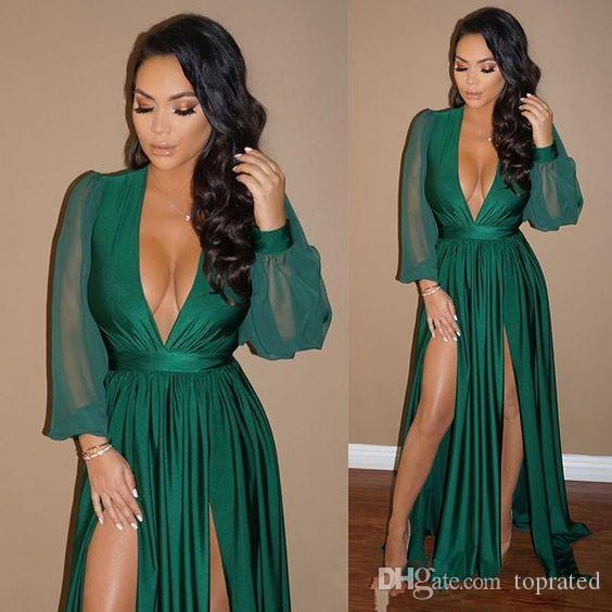 2019 Dark Green Sexy Plunging V Neck Long Dresses Evening Wear Sheer Long Sleeves High Split Prom Gowns Cheap Fashion Wear