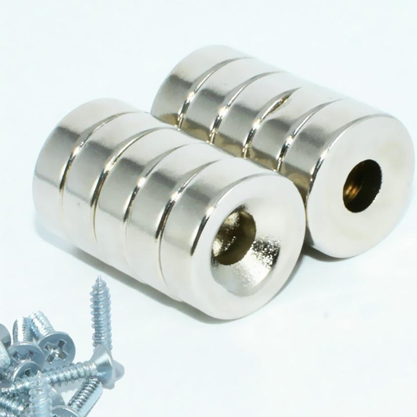 NdFeB Disc Countersunk Magnet + Screws Diameter 15x5 mm Hole Neodymium Permanent Tool Holder Garage Magnets Organizer 10pcs