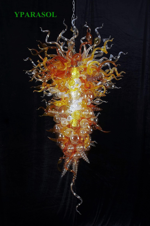 الحديثة الفن ديكور المنزل الإضاءة الزجاج المنفوخ بقيادة الثريا 100٪ الفم في مهب البورسليكات Chihully نمط مورانو اليدوية زجاج الثريا