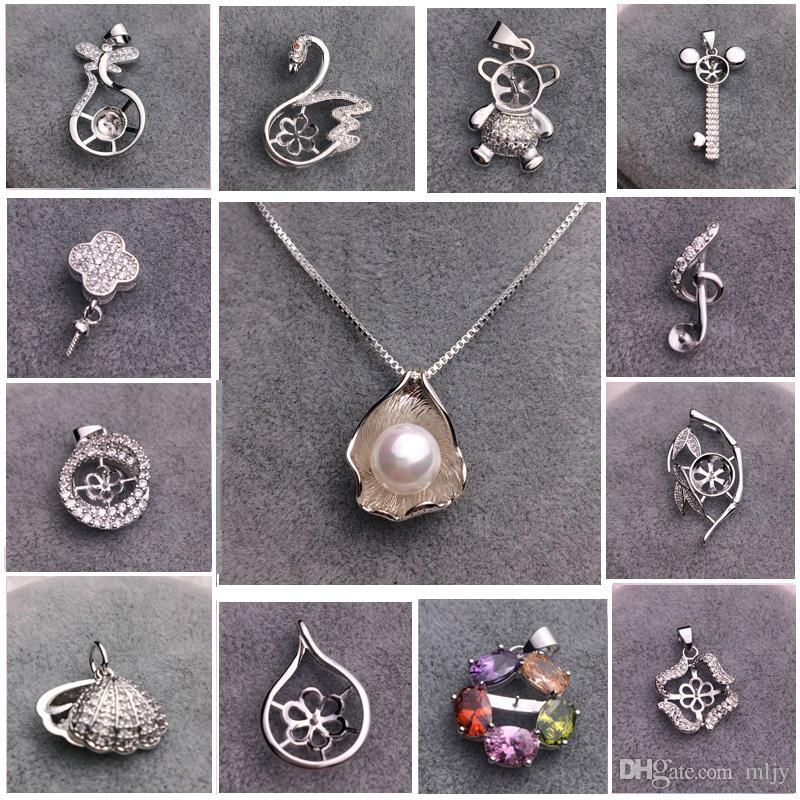 Mjjy pérola colar configurações 925 lasca configurações pingente estilos mix diy pérola colar para as mulheres jóias configurações com corrente de presente de natal