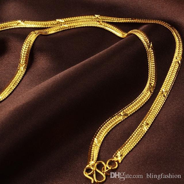 Gargantilha colar 6 MM Punk Do Vintage de Ouro Cheio de Cadeia de Cobra Antigo Para As Mulheres / Homens Jóias 18 polegadas de Comprimento