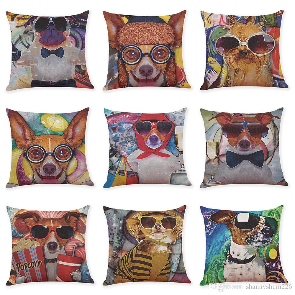 Novelty Cartoon Dog Linen Cushion Covers Home Office Sofa Square Pillow Case Decorative Pillow Covers Without Insert(18*18Inch)