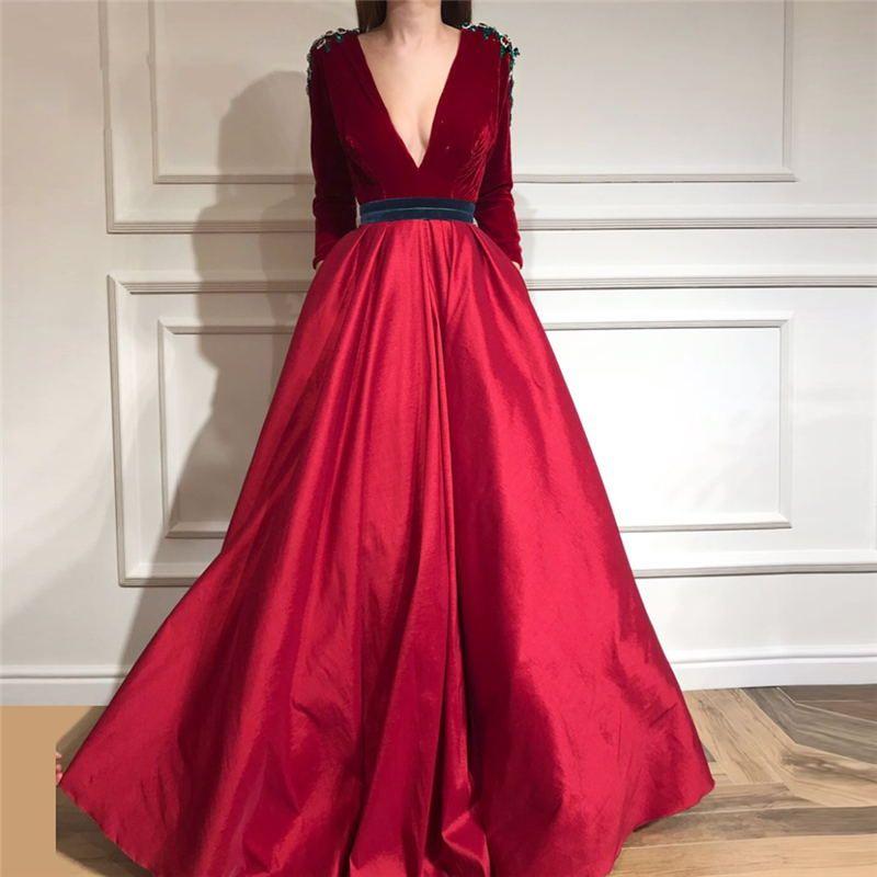 Vestido de noche de terciopelo borgoño Top Match Satin Skirt Vestido de fiesta de mangas largas sexy profundo con escote en V 2018 Vestidos Sash apliques Vestidos de baile
