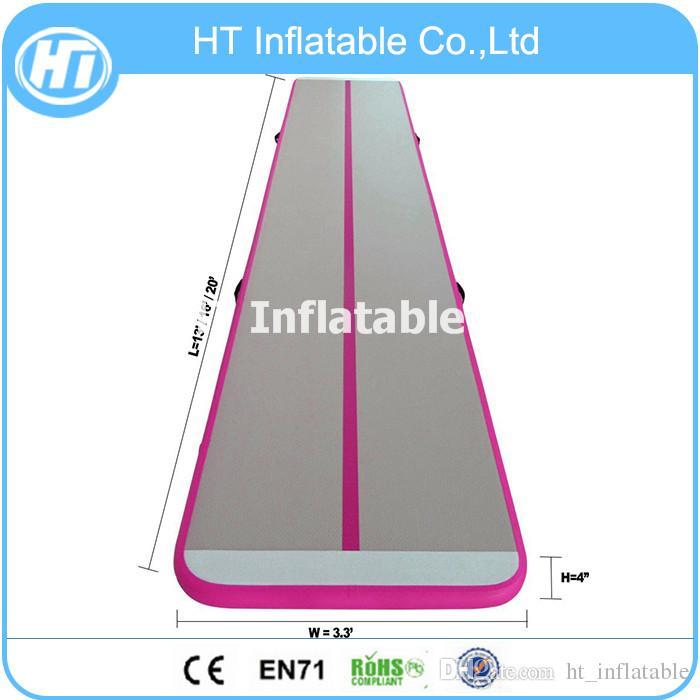 شحن مجاني 4x1 متر حار بيع الوردي 4 متر dwf airTrack للاستخدام المنزلي نفخ الهواء تعثر المسار للبيع