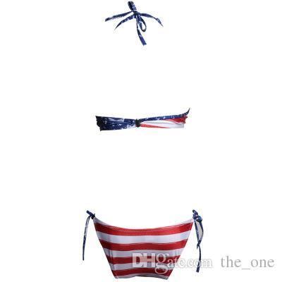 f22480b213 ... Femmes Sexy Bikinis Maillots De Bain Drapeau Américain Imprimer Rouge À  Rayures Briefs Étoiles Bleu Soutien ...