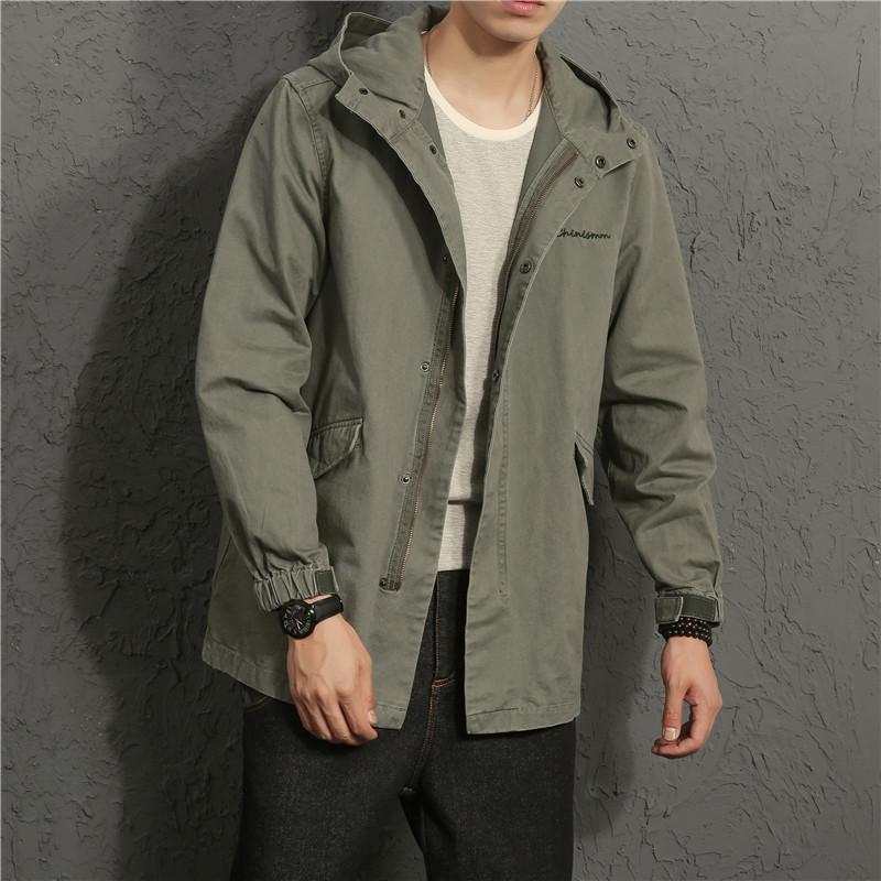 Средняя длина куртка сафари стиль шляпы мода осень пальто мужской черный зеленый MWC верхняя одежда мужчины свободные молодежь повседневная MOOWNUC 5XL