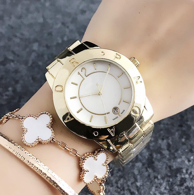 Reloj de pulsera de cuarzo del calendario de la fecha de las mujeres del reloj de la marca de moda de las muchachas de las mujeres del acero inoxidable