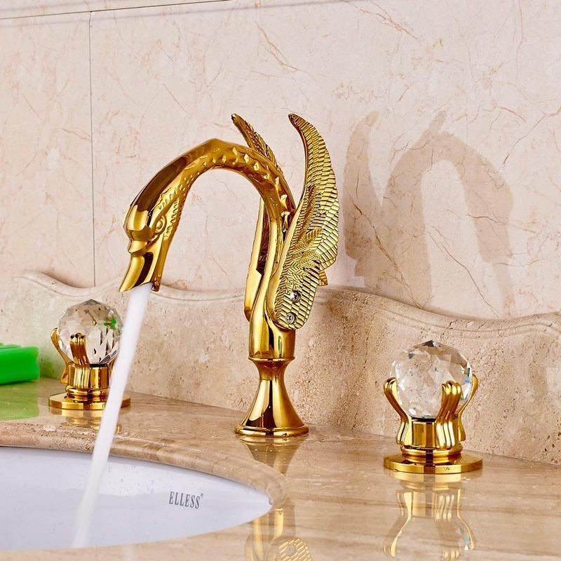 Gold Polished Brass Single Handle Basin Faucet Bathroom Sink Vessel Mixer Tap