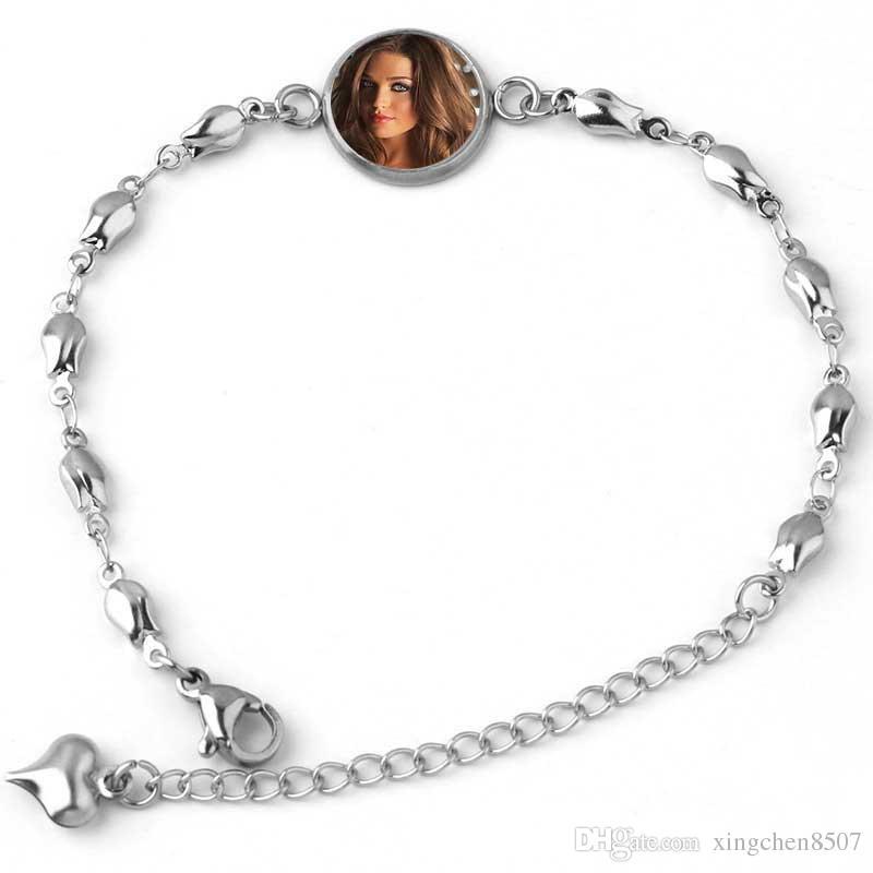 Sublimation leere Armbänder für Frauen Mode Perle Pfirsichform Wärmeübertragung Druck Armband Schmuck customizable diy Verbrauchsmaterial