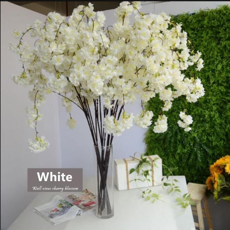 2020 135cm Vertical Silk Cherry Blossom Branch Flower For Wedding Decoration Diy Cherry Trees Artificial Flower Bouquet White From Chinasmoke 21 33 Dhgate Com