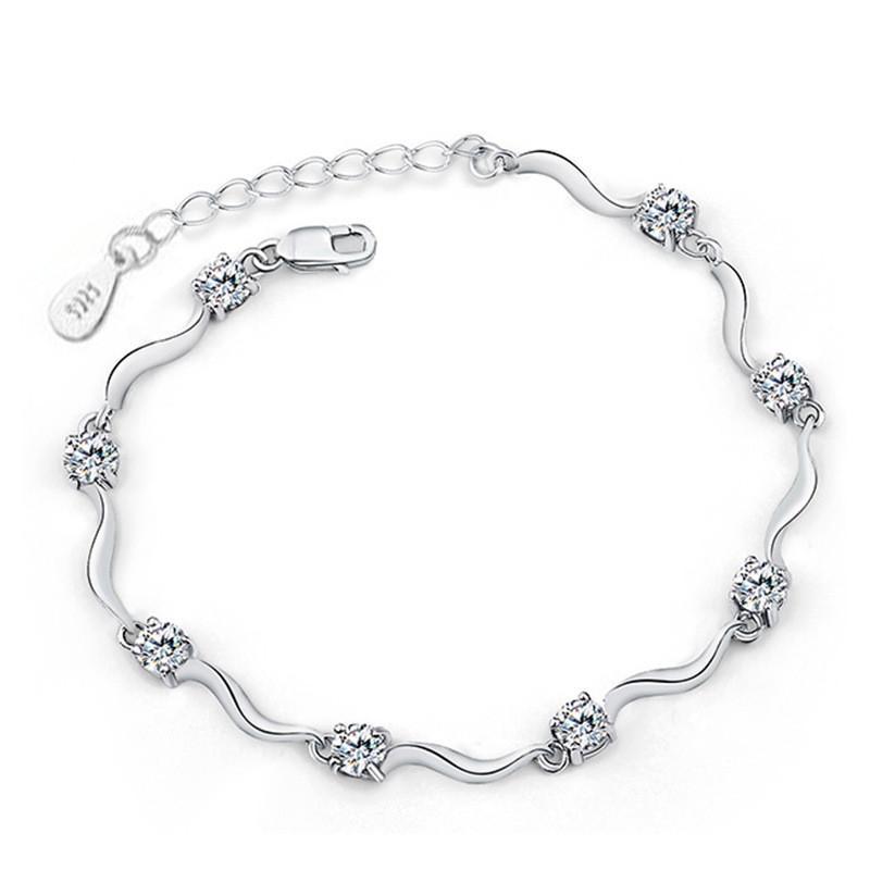 Pulsera redonda de tenis de circonio cúbico para mujer, joyería de boda clásica, pulsera de dama, chapado en oro blanco D09