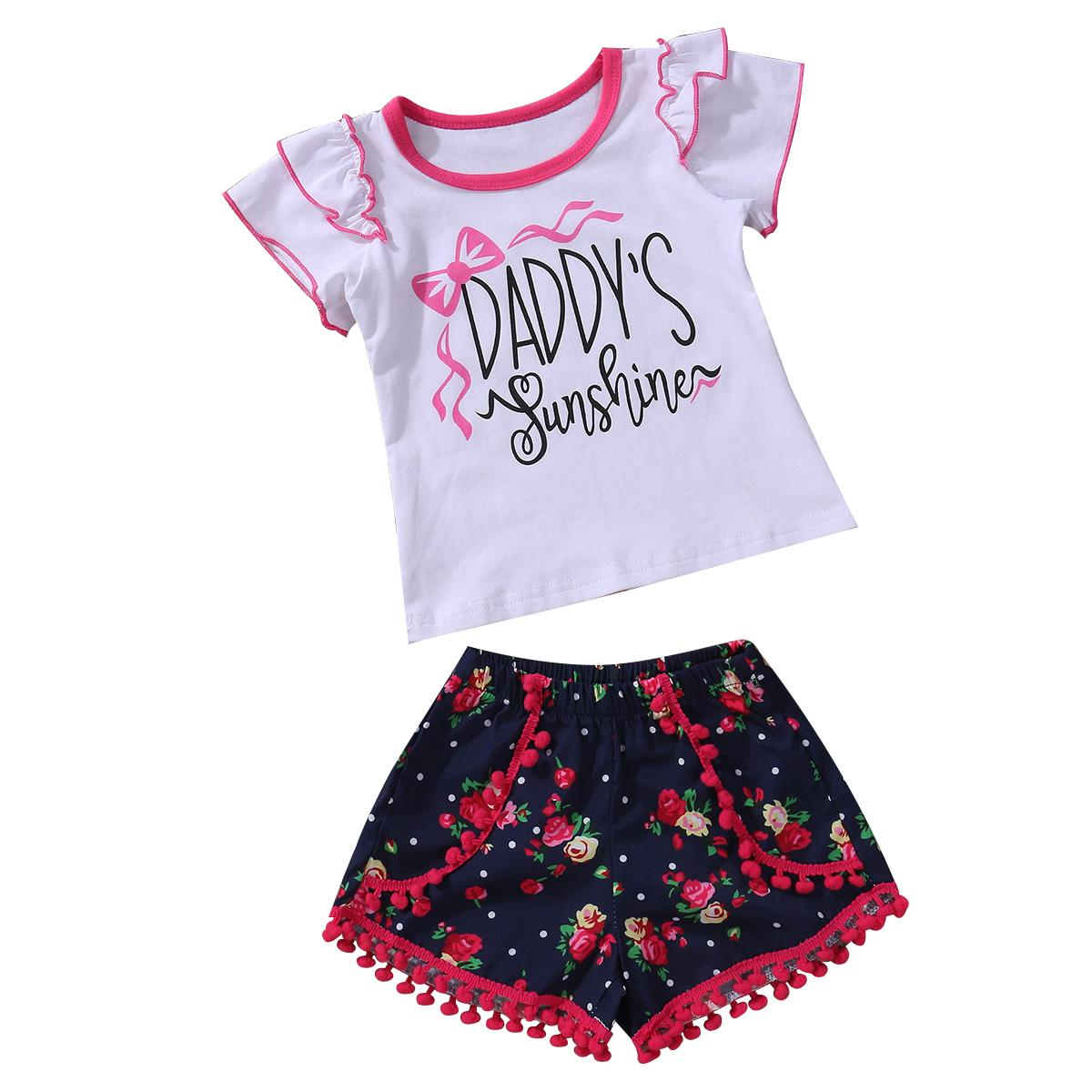 Sevimli Yenidoğan Bebek Kız Giyim Seti Yürüyor Çocuk 2 ADET Kıyafetler Sunshine Çiçek Tops + Püskül Dipleri Giysi Set