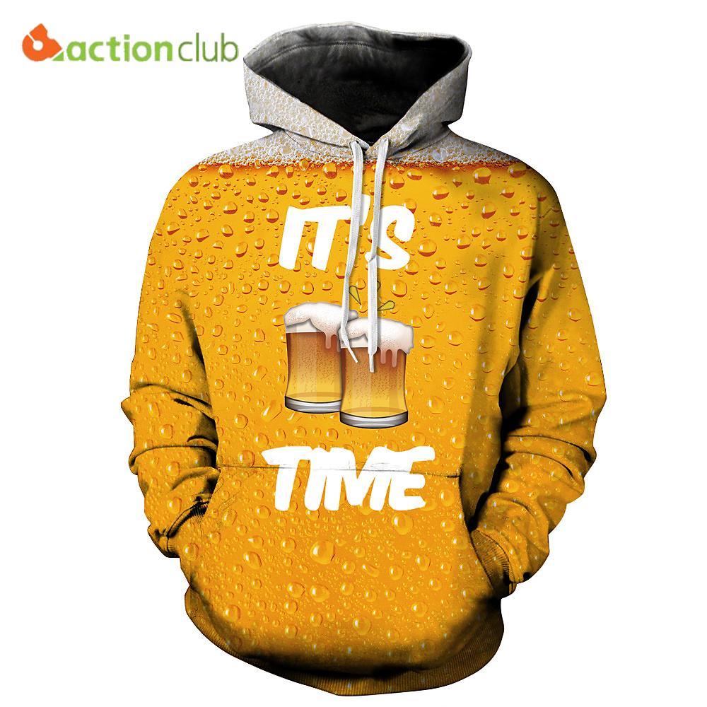 ACTIONCLUB 2017 봄 새로운 패션 남성 후드 스웨터 3D 인쇄 노란색 맥주 간단한 발렌타인 코트 캐주얼 스포츠웨어