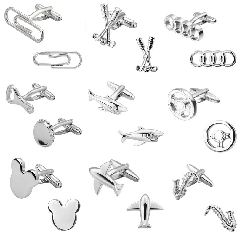Fashion Men Shirts Cufflinks Silver Shark 18 Aircraft Design High Quality Cufflinks Jewelry Wholesale And Retail 10pairs Christmas Gift