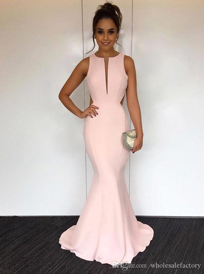 Compre 2018 Elegante Perla Rosa Satinado Sirena Vestidos Largos De Baile Recortar Longitud De La Espalda Hueca Vestidos De Fiesta Formal De Noche A